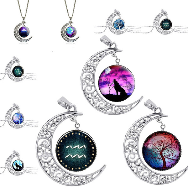 top popular 64 Designs Glass Cabochon Necklace Tree of Life Galaxy Moon Zodiac Wolf Fairy Necklace Pendants Fashion Jewlery Will and Sandy Drop Ship 2019