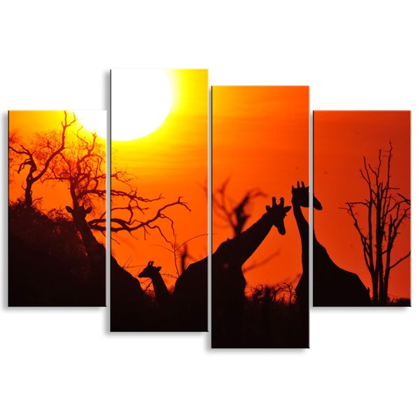 4 pieces high-definition print African landscape canvas oil painting poster and wall art living room picture FZ4-005
