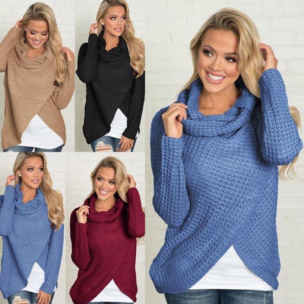 Suéter asimétrico de las mujeres de punto sueltas mangas largas suéter de  las señoras de cuello 7694450c8674