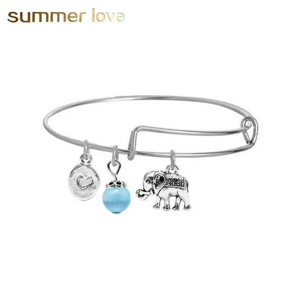 Fashion silver elephant dog wire bangle with love and crystal bead charm bracelet for women expandable animal pendants diy jewelry making