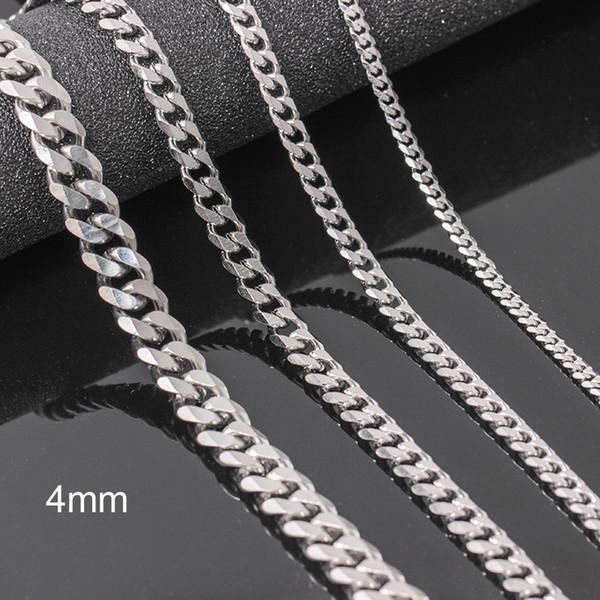 Nuevo diseño de acero inoxidable Collar de diseño caliente Collares para hombre Joyería de moda Collar de cadena de titanio para hombre regalo, 4 mm de longitud