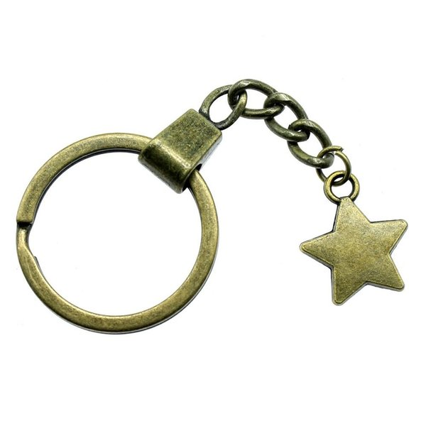 6 Pieces Key Chain Women Key Rings Fashion Keychains For Men Star 20x17mm