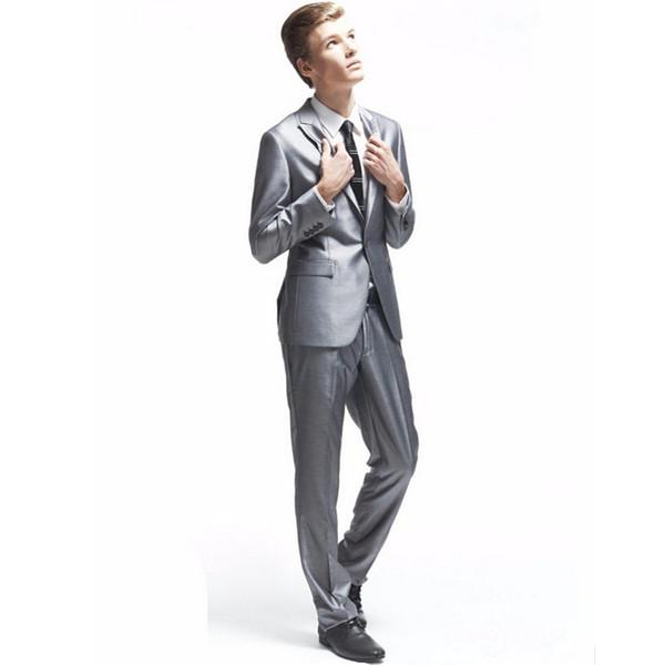 New hot suit two-piece suit (jacket + pants) men's single buckle gun collar collar suit men's party party dress wedding groom dress