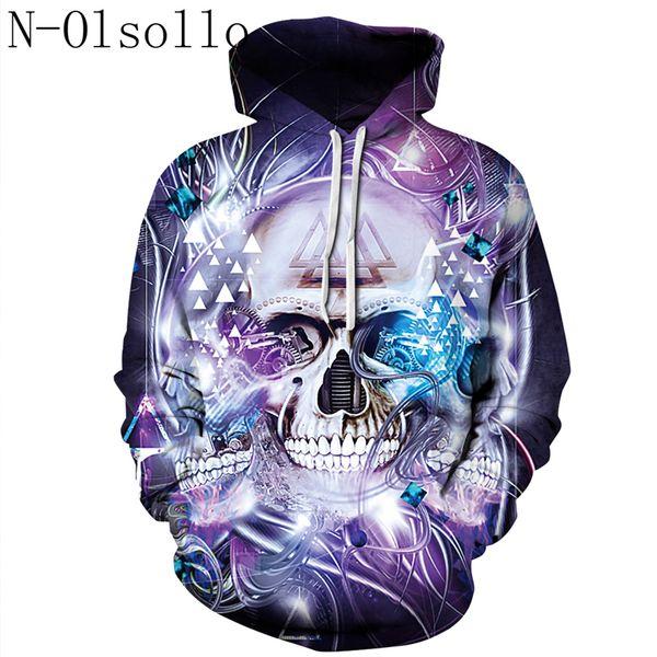 b9c9242df25a N-olsollo Gothic 3D Purple Skull Print Fitness Hooded Sweatshirts Long  Sleeve Workout Runs Pullover