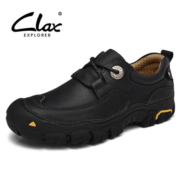 CLAX Mens Tornozelo Bota de Couro Genuíno Primavera Outono Botas Casuais Ao Ar Livre Masculino Sapato de Trabalho Sapatos de Segurança Calçados Feitos À Mão de Caminhada