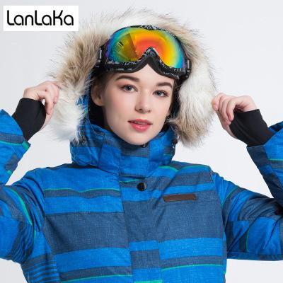 LANLAKA NEUE Marke Ski Jacke Frauen Winter Wasserdichte Jacke Hochwertige Snowboard jacken Warm Verlängern Blau Ski Mantel Weiblich