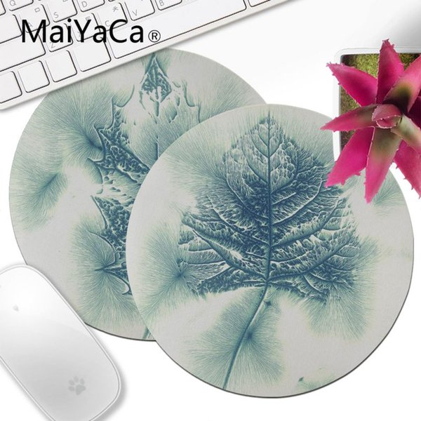 Yinuoda Cool New Blush Blue Leaves High Speed Lockedge Mousepad 20x20cm 22x22cm Round Mouse Pad Decorate Desk at Home And Office