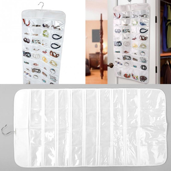 Wholesale-Double Sides 72-Grids 42*84cm Home Jewellery Hanging Storage Bag Necklace Earrings Organizing Bag Accessories organizers
