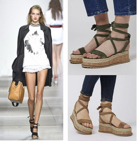 Summer straw hemp slope with Roman cross straps shoes open toe sandals
