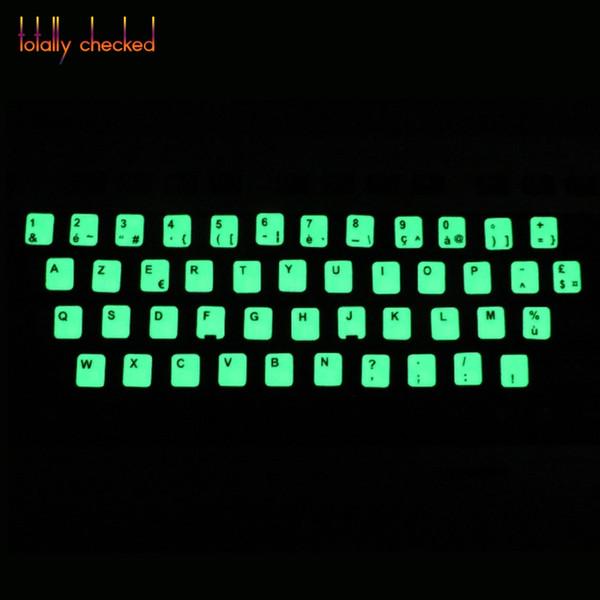 Glühende Lumious leuchtende Tastatur Aufkleber Russisch Spanisch Japanisch Arabisch Thai Hebräisch Französisch Italienisch Deutsch Desktop-Laptop