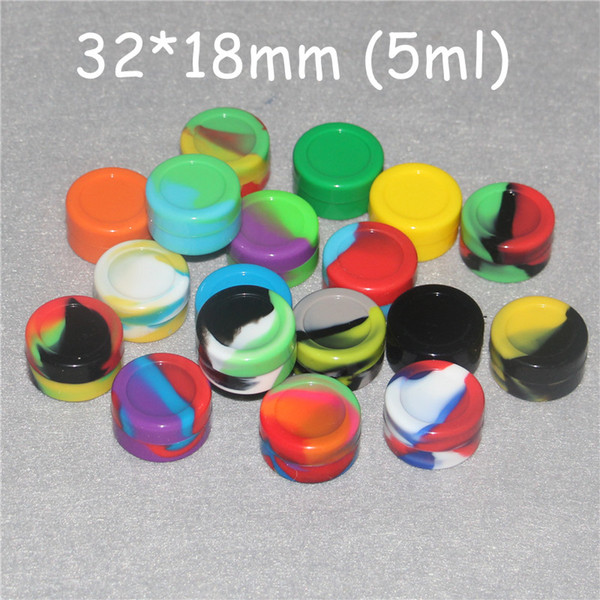 Nonstick wax containers silicone box 5ml silicon container food grade jars dab tool storage jar oil holder Silica gel box FDA approved