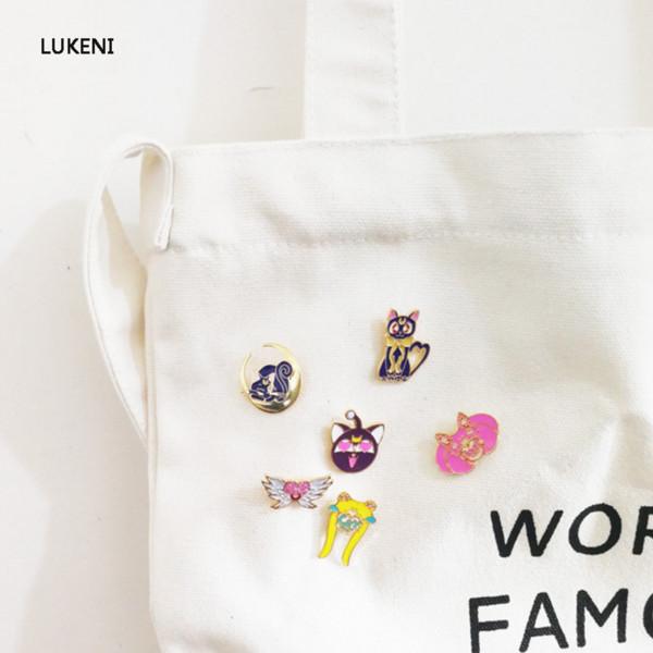 6 teile / satz niedlichen Japan Anime Sailor Moon Emaille Brosche Sailor Moon Luna Tsukino Usagi Abzeichen Tasche Dekoration Schmuck