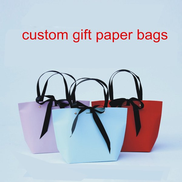 New Arrival 500pcs/lot Custom Sweet Shopping bags Gift Paper bags for Wedding Party Favor Candy with Ribbon