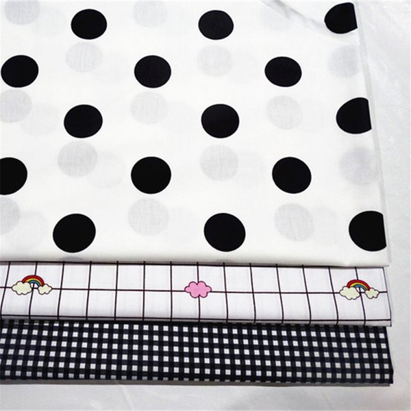 Cute Wave point/grid print 100%cotton fabric for baby cloth 10yards/lot tomo1813