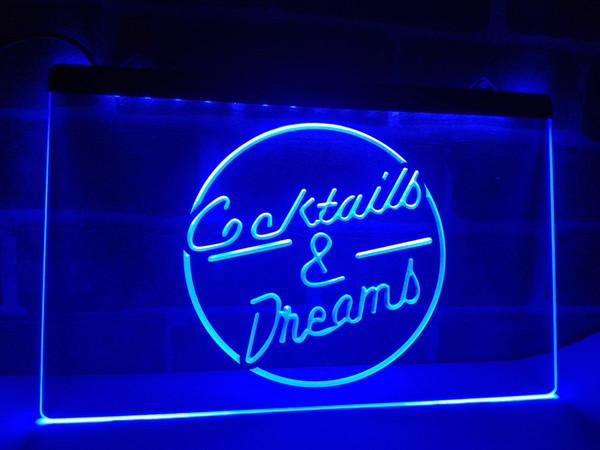 LB079- Cocktails & Dream Beer Bar Wine LED Neon Light Sign home decor crafts