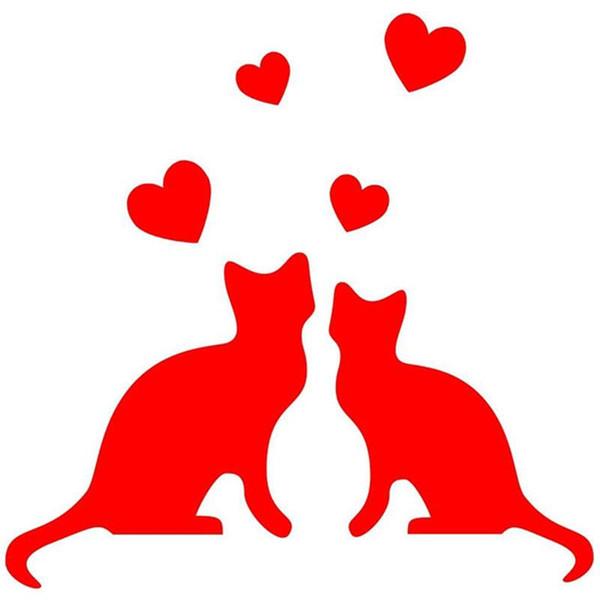 HotMeiNi Wholesale 20pcs/lot Cats In Love Hearts Car Sticker For Truck Window Bumper Auto SUV Door Kayak Vinyl Decal