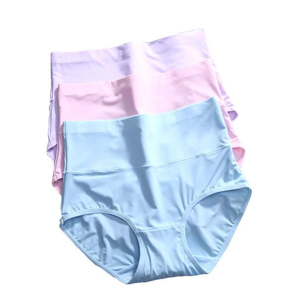LANGSHA 3Pcs High Waist Ultra-thin Panties Women Seamless Sexy Lingerie Ice Silk Underwear Slimming Panties Summer Pink Briefs