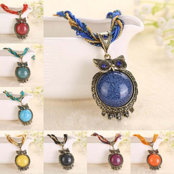 15 Style Bohemia Owl Gem Copper Crystal Glass Beads Cord Choker Necklaces & Pendants Necklace For Women Free Shipping D786S