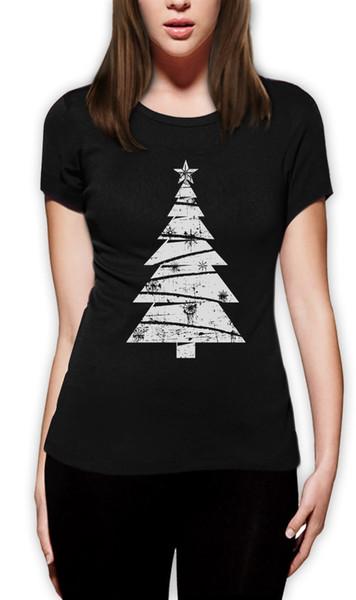 Frauen T-Shirt 2018 Fashion Big White Distressed Weihnachtsbaum - Weihnachtsgeschenk Idee Frauen T-Shirt Urlaub Casual Kurzarm Shirt Tee