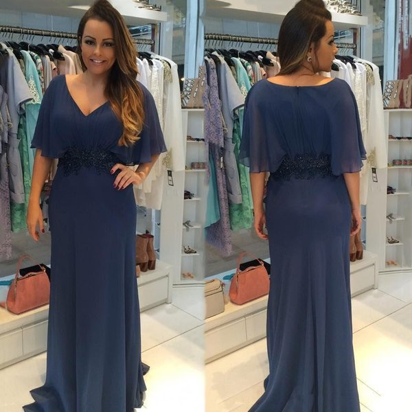 Plus Size Simple Chiffon Mother of Bride Dresses 2019 New V Neck Short Sleeves Mermaid Long Mother Formal Evening Gowns With Beaded