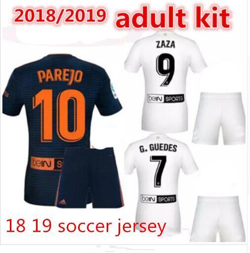 the latest 882df 91699 2018 2018 2019 Valencia Cf Soccer Jerseys 18 Zaza Parejo G.Guedes C.Soler  Gaya Mina Vietto Rodrigo Blue White Golden Adult Kit Football Shirt From ...