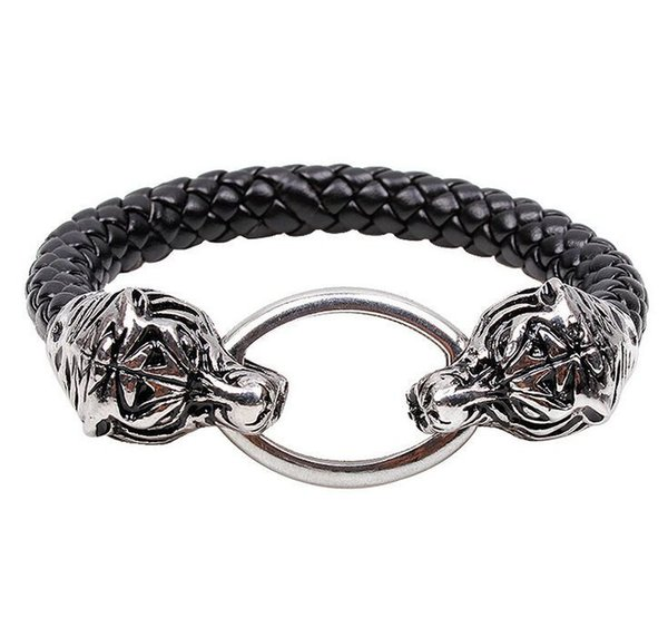 Großhandel Geflochtene Echtleder Doppel Tiger Kopf Armband Armband schmuck Für Mann