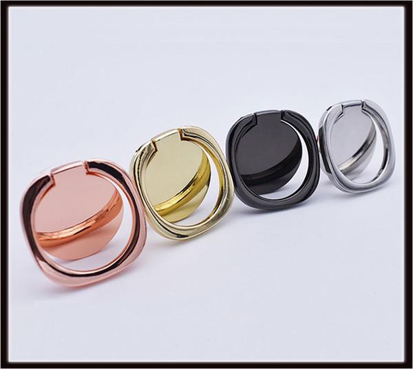 Support de bague de doigt de luxe en métal 360 degrés pour Smartphone Support de doigt de téléphone portable avec sac d'or