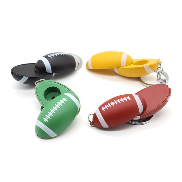 Metal somking pipes New mini zinc alloy 50mm*29mm Rugby type unique designer smoking pipe key chains Portable Tobacco pipe with 4 colors