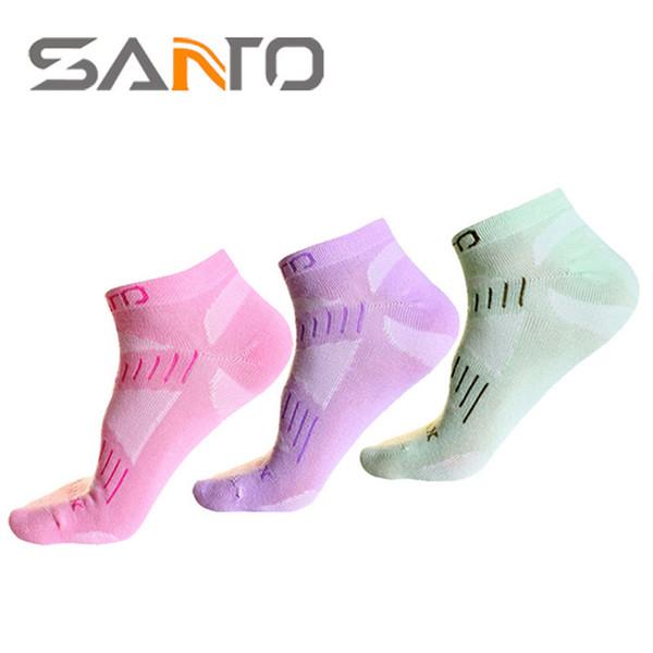 1 Paar SANTO Frauen Frühling Herbst Söckchen Atmungsaktiv Quick-Dry Baumwollsocken für Outdoor-Sport Geeignet für Größe 35-39
