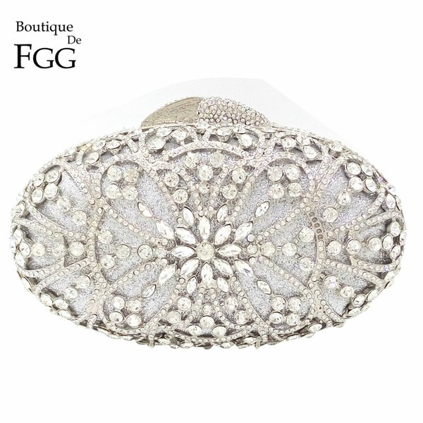 Hollow Out Hard Case Women Silver Crystal Clutch Evening Bags Bridal Wedding Dress Box Metal Clutches Long Chains Shoulder Bags