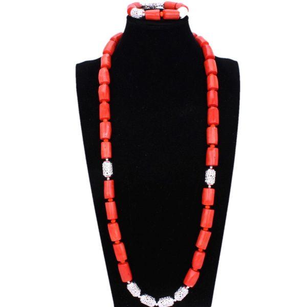4UJewelry Nigerian Men Nature Original Coral Beads Jewelry Set For Nigerian Weddings Orange African Bridal Necklace & Bracelet
