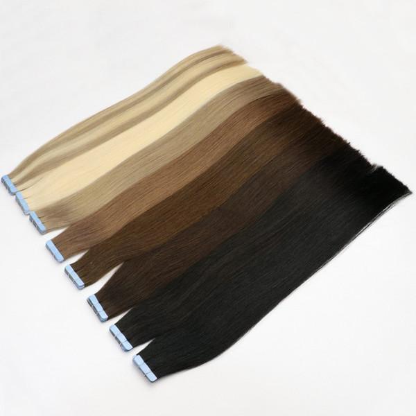 La mejor cinta 10A en extensiones de cabello 100% original Remy de la virgen cabello humano 200 g / 80 pcs brasileño indio indio malasio piel tramas PU pelo