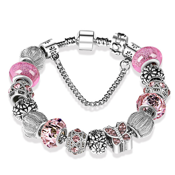 top popular 925 Sterling Silver plated Beads Crystal butterfly Chamrs Bracelets for Pandora Charm Bracelet Bangle DIY Jewelry for Women 2021