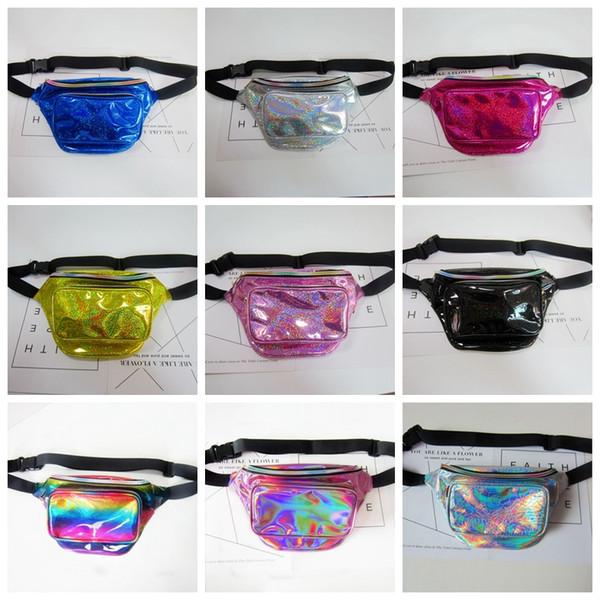 top popular Waterproof Laser Fanny Pack Hip Waist Pack Belt Pouch Women Unisex Waist Belt Bag PU Hologram Money Belts Travel Cashier Pouch 8 color 2020