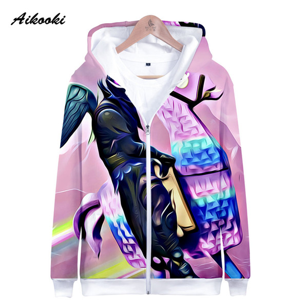 2018 Aikooki Fortnite Zipper Hoodie Men Women Fashion Pop 3d Print