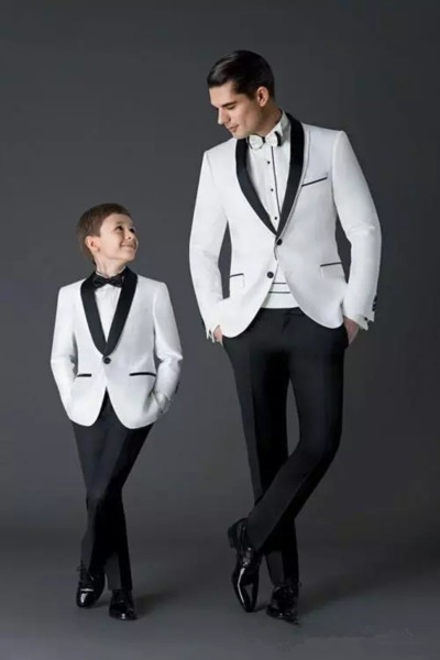 2019 Vintage White And Black Groom Tuxedos Men's Wedding Dress Prom Suits Father And Boy Tuxedos Formal Party Wear (Jacket+Pants)