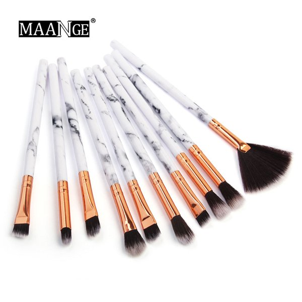 10 Unids / set Profesional Pinceles de Maquillaje Marbling Mango Sombra de Ojos Ceja Labios Sombra de Ojos Ceja Polvo de Labios Comestic Herramientas Kits