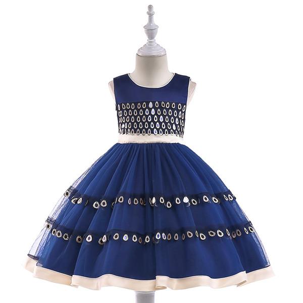 Girls dress peacock hair beads children's wedding princess dress sequins flower girl dress skirt