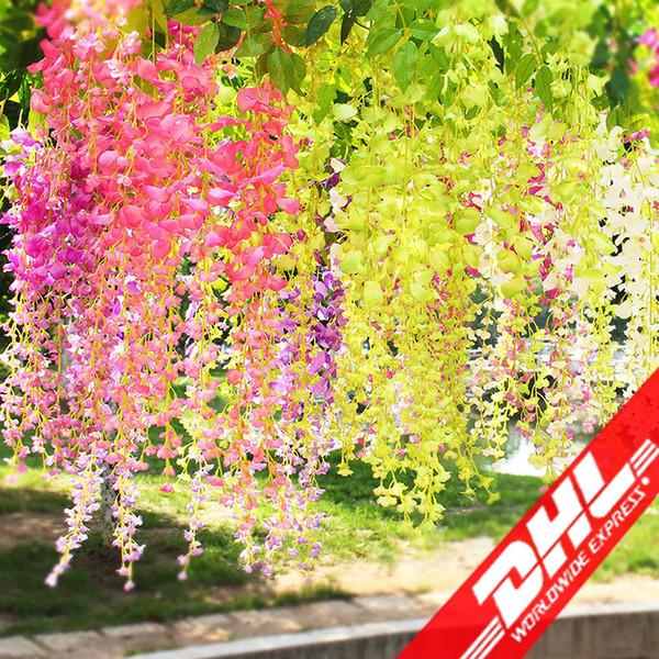 best selling 110cm Artificial Flowers Simulation Wisteria Flower Romantic Wedding Decorations 5 colors Cane Garden Dried Silk Wreaths Flowers