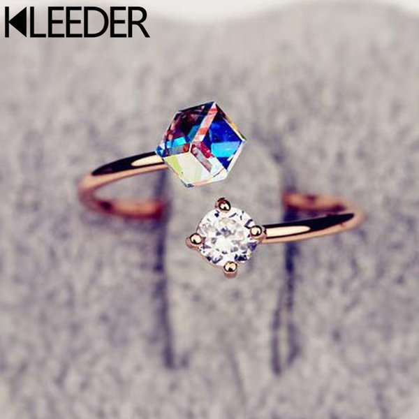 KLEEDER Fashion Geometric Cube Crystal Color Changed Zircon Rings Elegant Colorful Crystal Ring for Women Korean Ornaments Gift