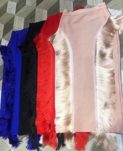 New Fashion 2018 Donne Sexy Sesigner Nero Blu Rosso Rosa Rayon Fasciatura Gonna 2018 Elastic Party Gonna a matita
