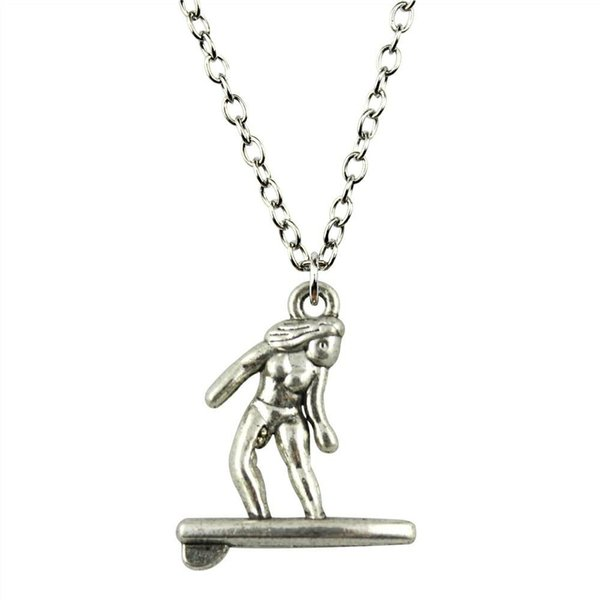 WYSIWYG 5 Pieces Metal Chain Necklaces Pendants Male Necklace Fashion Surf 21x18mm N2-B10231