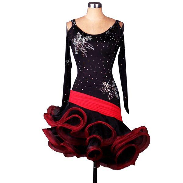 Latin Dance Dress Women Girls Latin Salsa Dance Competition Dresses Samba Costumes D0190 3 Colors Fluffy Irregular Hem Long Sleeve