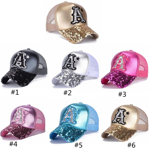 Korean summer sunshade cap ladies leather embroidered sequin baseball hat sunscreen hats Letter A sequin net cap
