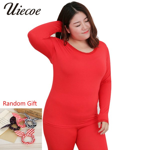 Plus Size 2X-6XL New Women Long Johns Modal Elastic Casual Thermal Underwear Women O-neck Lace Bottoming Suit with Gift