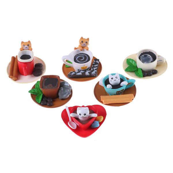 Novità 1pcs Kawaii Dessert Cat Miniature casa delle bambole Cucina Giocattoli Decorazione della casa Accessori Decor Craft Giocattoli Pretend Gioca
