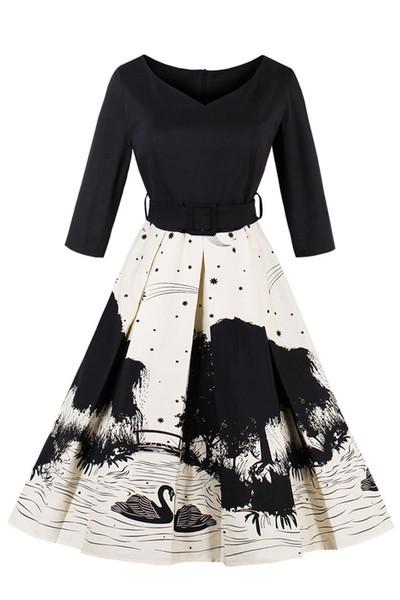 New V-Neck Donna nero e bianco floreale stampato abiti vintage Autunno mezza manica 4XL Plus Size abiti da festa FS1895