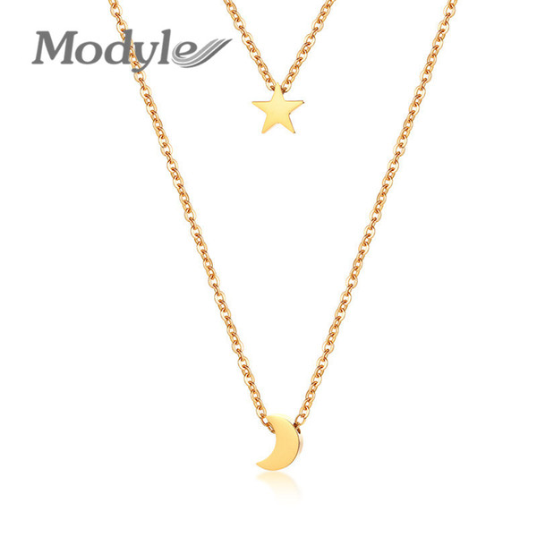 Modyle Star Moon Charm Layered Choker For Women Gold Color Stainless Steel Doule Layer Necklace Elegant Party Jewelry