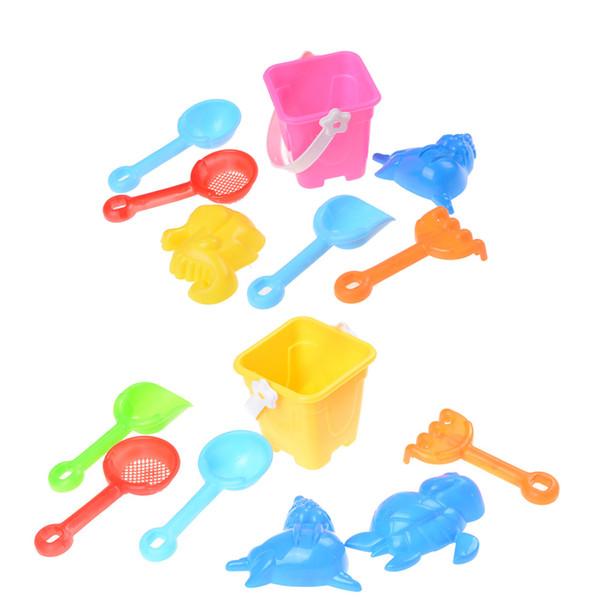 New 7pcs/Set Tools Set Kids Children Seaside Bucket Shovel Rake Kit Building Sea Horse Molds Funny Sand Water Beach Play Toys