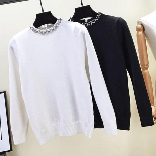 2018 Herbst und Winter Frauen Schwarz Pullover Mode Schlank langärmeligen Oansatz Intarsien Perlen Pullover Nähen Harajuku Kleidung